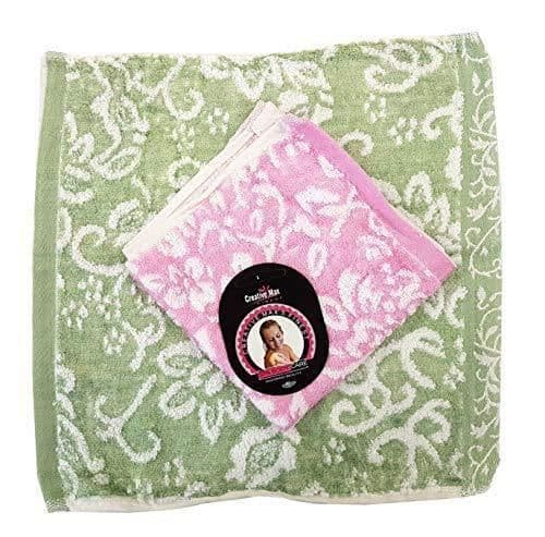 Serenade - Twin Pack Luxury Thick Soft Patterned Bamboo Fibre Face Cloth Flannels - Pink/Green